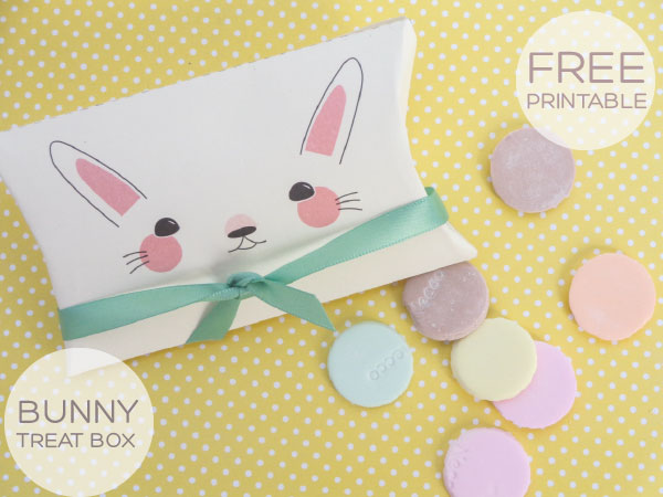 easter bunny printable treat box; pillow box template for easter