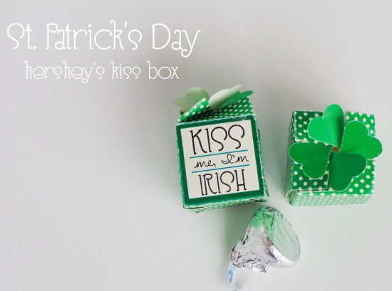 St. Patrick's day hershey's kiss box with shamrock (4 leaf clover) top; Free printable