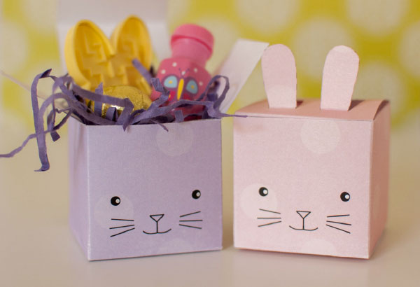 bunny gift boxes for easter -  free printale in 4 colors