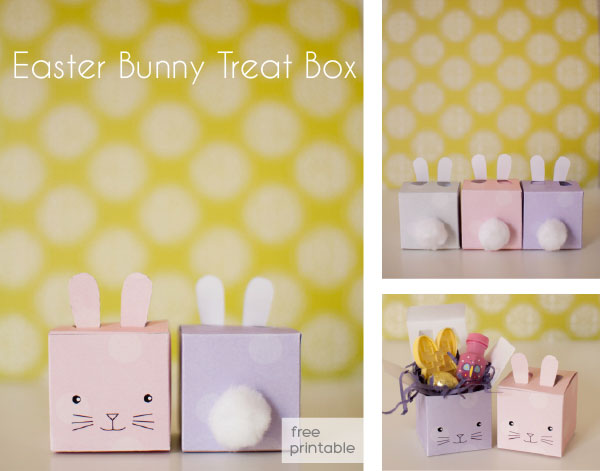 Printable free gift box templates easter bunny treat box negle Image collections